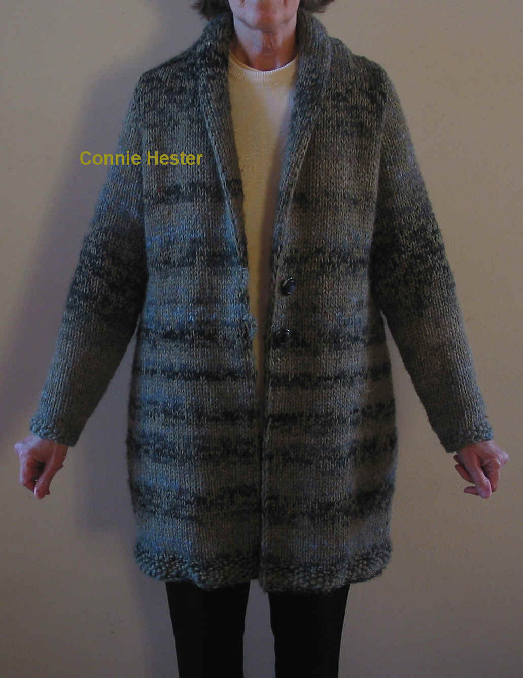Bulky Knit Coat Pattern with Shawl Collar