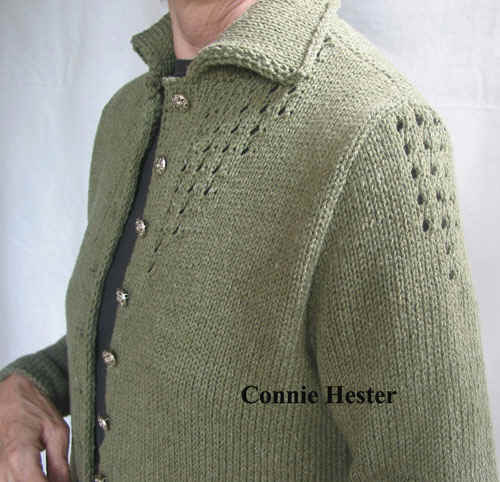 Jacket with eyelet tucks and double knit collar pattern dt1010fo
