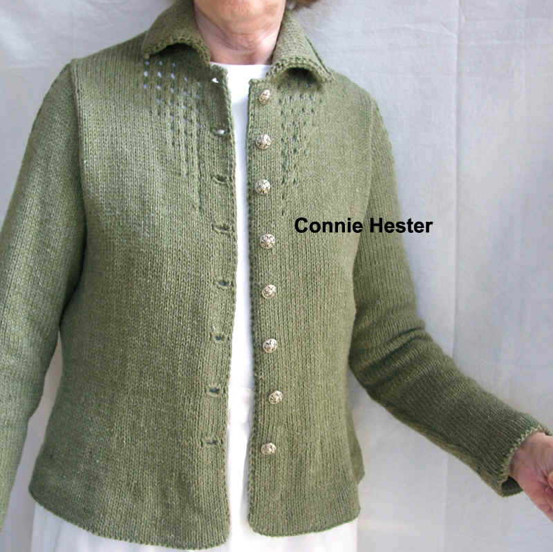 Jacket with Eyelet Tucks and Double-Knit Collar Pattern