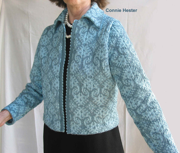 Knitted Jacket Pattern : Jacquard Knit Jacket Pattern with Chanel Collar