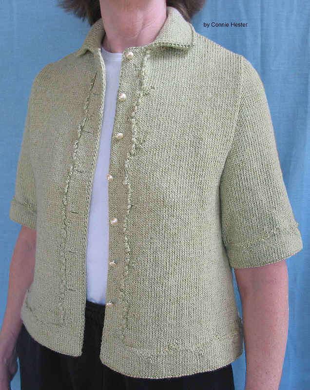 Knit Hemmed Jacket Pattern with Double-Knit Collar and Short Sleeves