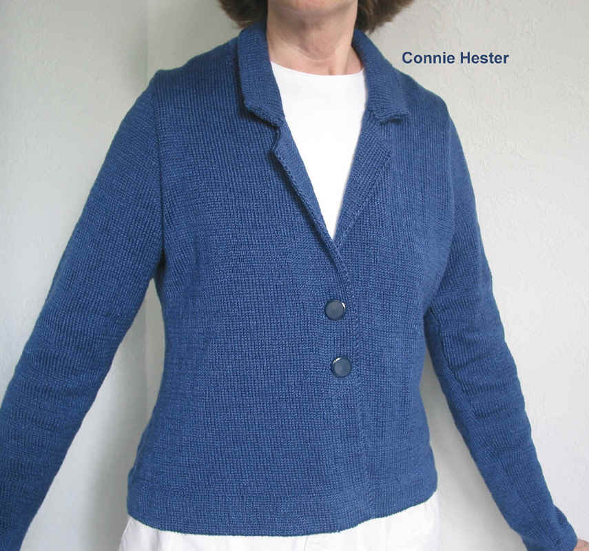 Lapel Collar Knit Jacket Pattern with Back Pleat