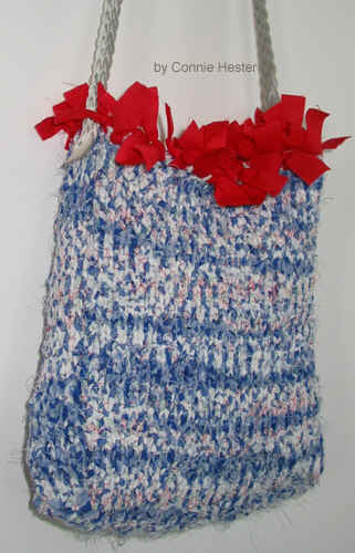 Knit Purse of Blue Plaid Fabric with Red Fringe